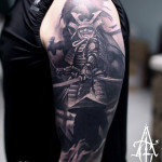 Graphic Warrior Samurai tattoo by Agat Artemji