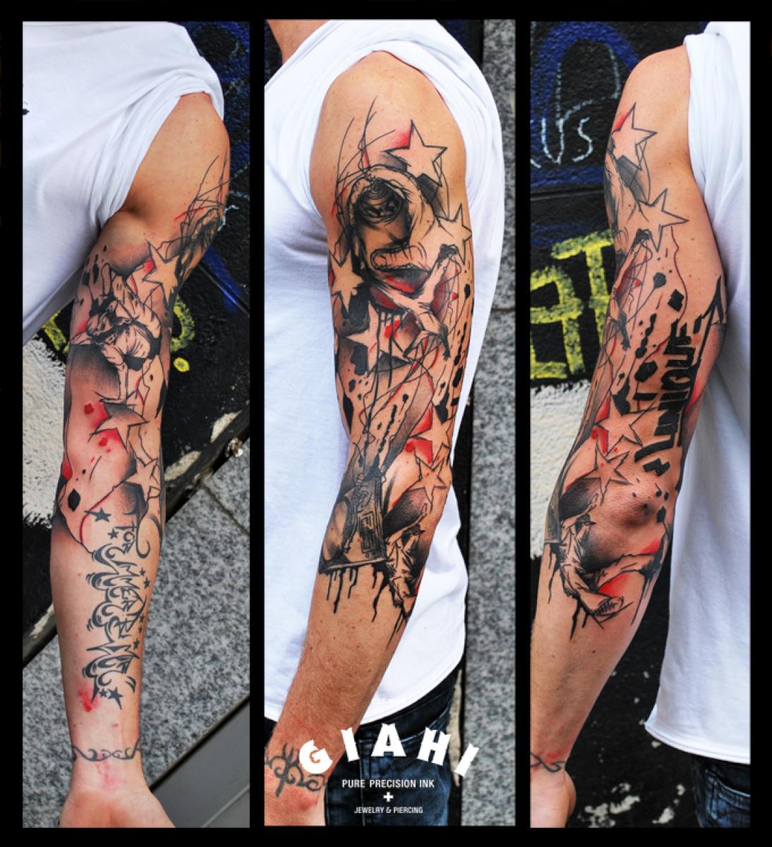 Graphiti Paint Aerosole Trash Polka tattoo by Live Two