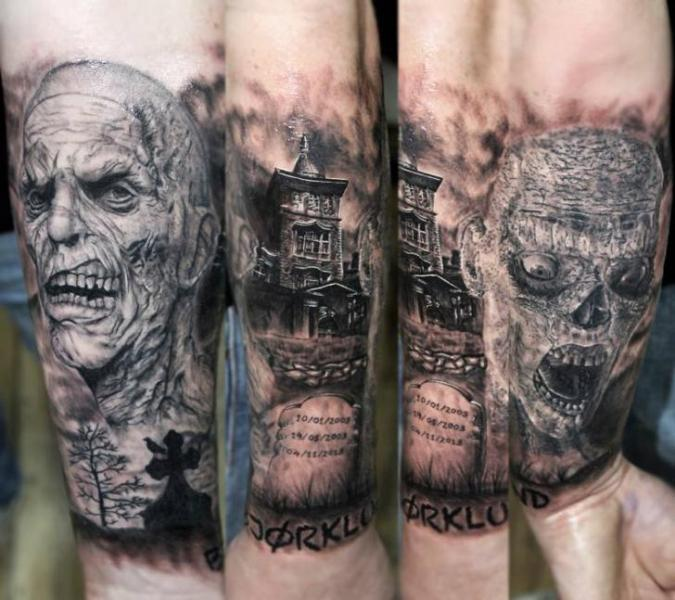Graveyard Zombies Realistic tattoo by Georgi Kodzhabashev