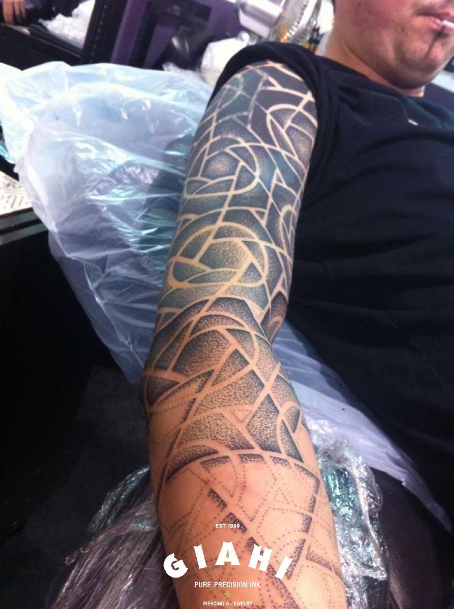 Great Geometry Dotwork tattoo sleeve in Progress by Andy Cryztalz