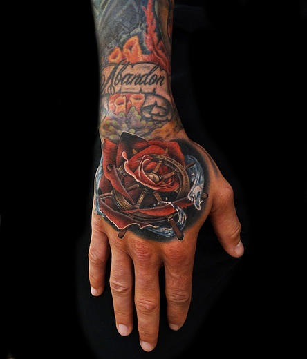 Great Ship Wheel Rose tattoo by Andres Acosta