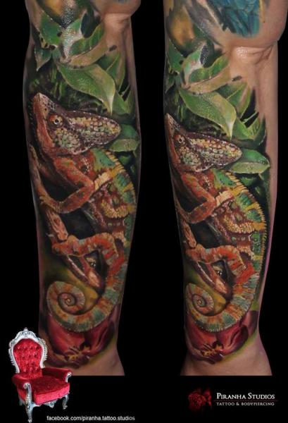 Green Leaves Chemeleon Realistic tattoo by Piranha Tattoo Supplies