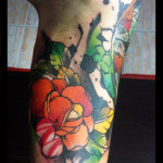 Green Leaves Red Flowers tattoo by Live Two