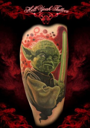 Green Light Saber Yoda Star Wars tattoo by Hellyeah Tattoos