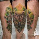 Green Oak Owl tattoo by Agat Artemji