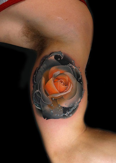 Grey and Yellow Surf Rose tattoo by Andres Acosta