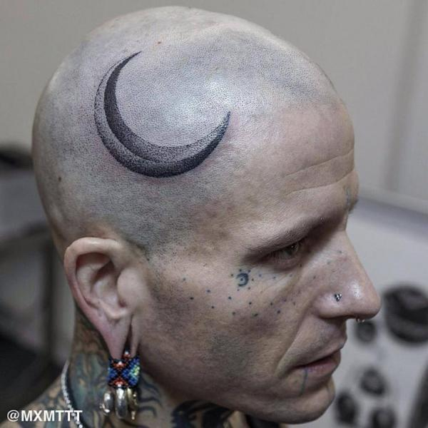 Growing Moon Dotwork Head tattoo by MXM