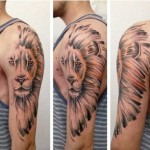 Half Lion Mane Realistic tattoo by Julia Rehme