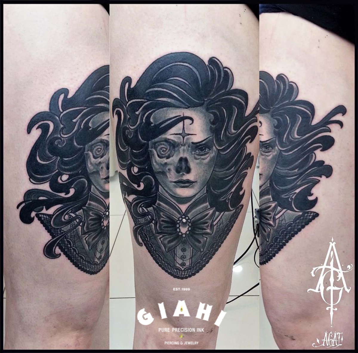 Half Skull Drowned Blackwork tattoo by Agat Artemji