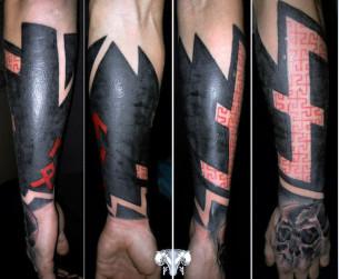 Half Sleeve and Hand Skull Blackwork tattoo