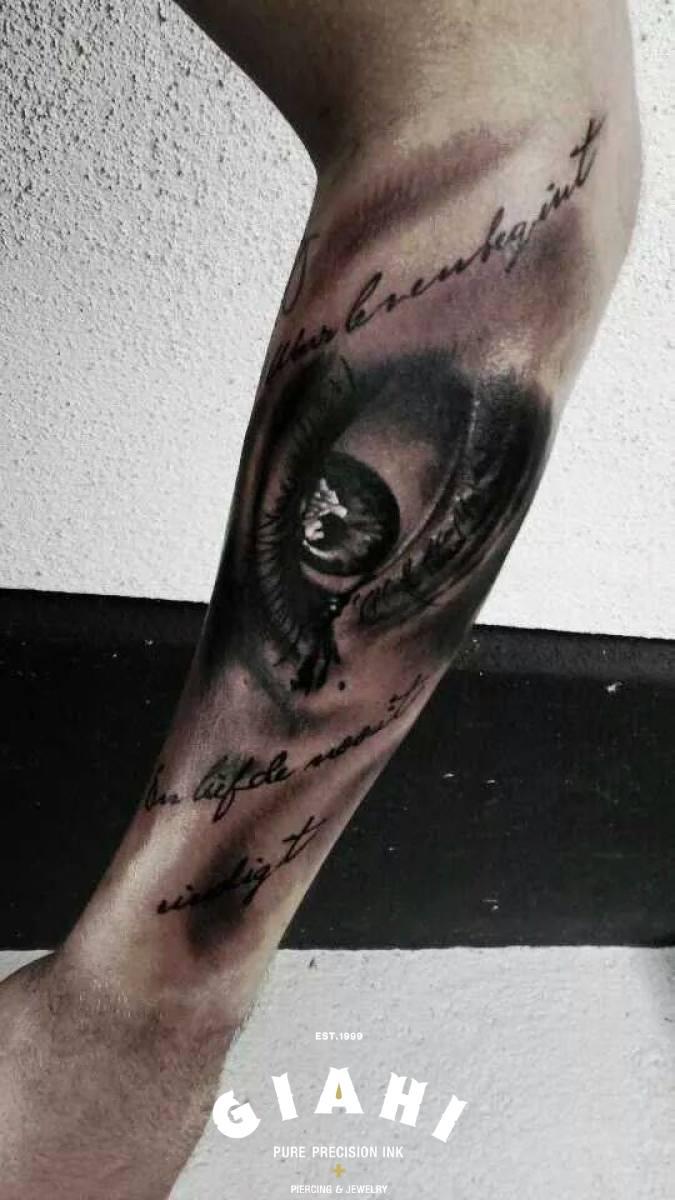 Hand Writing Realistic Eye tattoo by Goran Petrovic