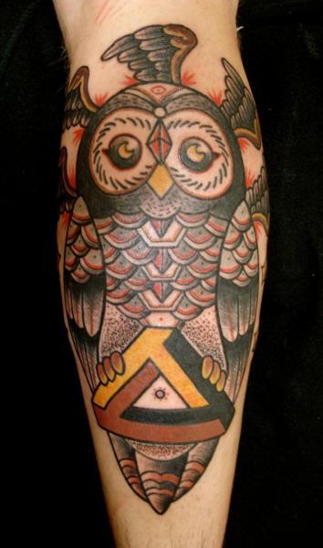 Head Wing Triangle Holding Owl New School tattoo by Destroy Troy Tattoos