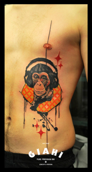 Headphones Monkey tattoo by Live Two