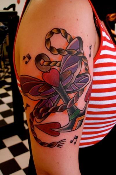 Heart Anchor New School tattoo by Destroy Troy Tattoos