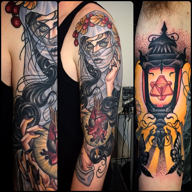 Heart Shot Girl and Lantern tattoo by Kat Abdy