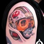 Helmet Skull tattoo by Andres Acosta