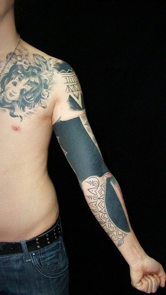 Hindu Symbols Blackwork tattoo sleeve | Best Tattoo Ideas ...