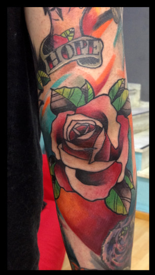 Hope Lettering Rose tattoo by Live Two
