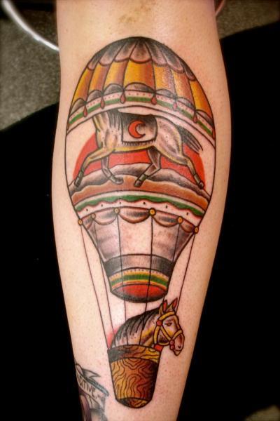 Horse Air Baloon New School tattoo by Destroy Troy Tattoos