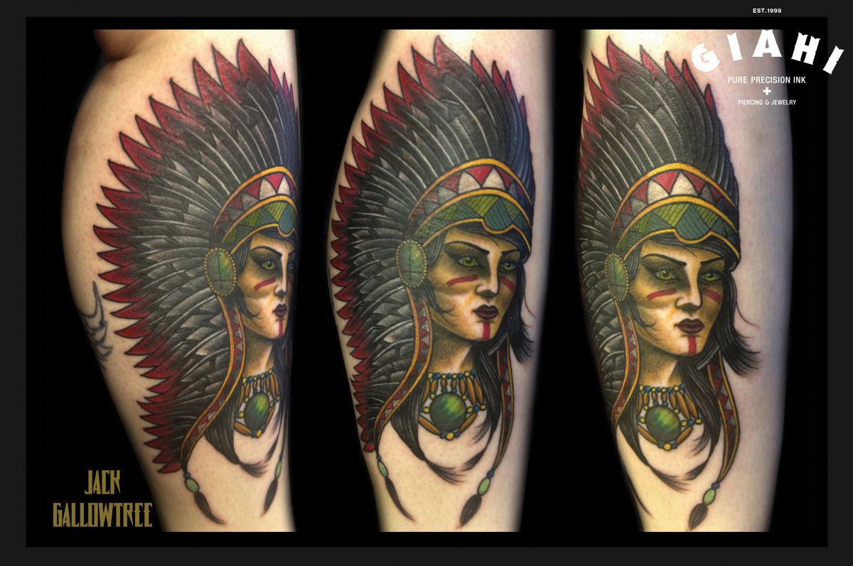 Indian Girl tattoo by Jack Gallowtree