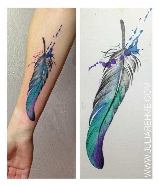 Ink Drops Spots Feather Aqaurelle tattoo by Julia Rehme