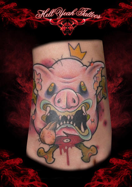 Insane Behaded Pig tattoo by Hellyeah Tattoos