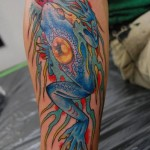 Japanese Blue Frog tattoo by Illsynapse