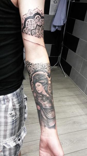Japanese Geisha Blackwork tattoo by Nazo