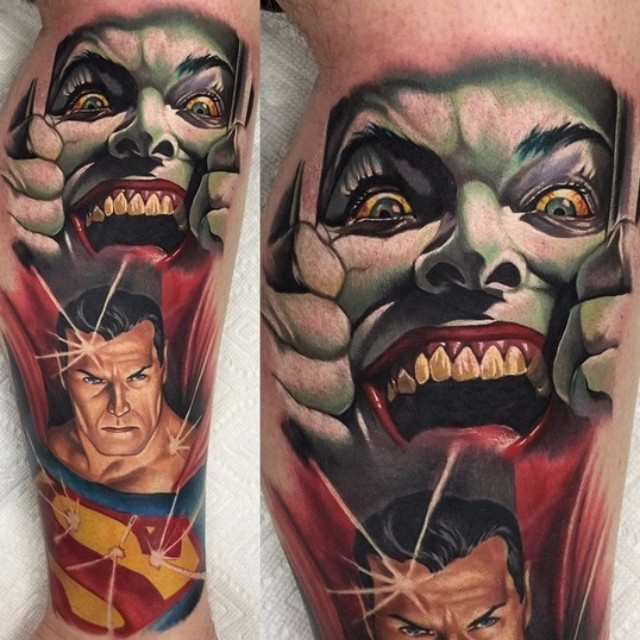 Joker and Superman tattoo by Audie Fulfer jr.
