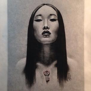 Key Heart Asian Girl tattoo idea by Jason Minauro