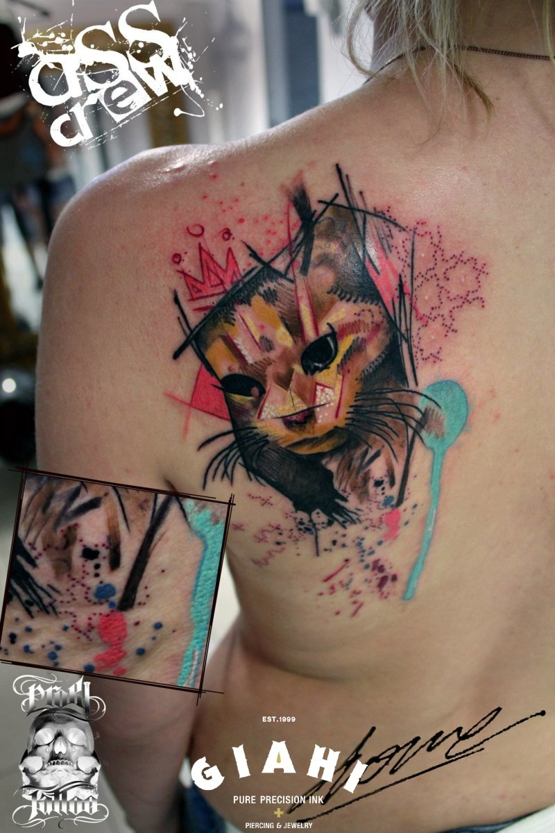 King Cat tattoo by George Drone