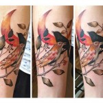 Kingfish Bird Moon Aquarelle tattoo by Julia Rehme