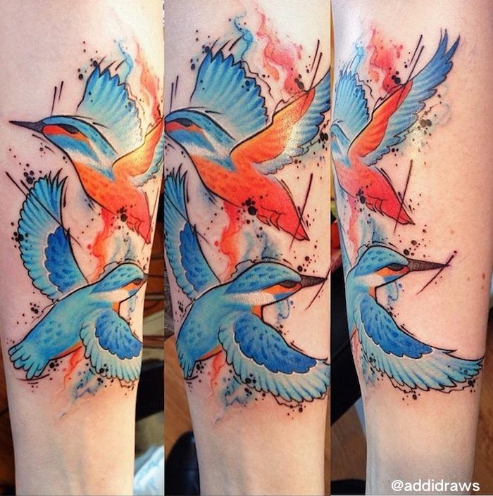 Kingfisher Birds Aquarelle tattoo by Liisa Addi Kask