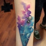 Space Kid Aquarelle tattoo by Koray Karagözler