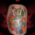 Laser Eyes Robot tattoo by Hellyeah Tattoos