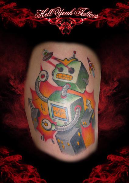 Laser Eyes Robot tattoo by Hellyeah Tattoos