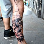 Leg Abstraction Aquarelle tattoo by Petra Hlavàckovà