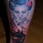 Leg Geisha Japanese tattoo by Szilard
