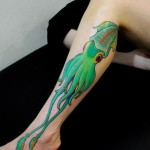 Leg Green Squid Nautical tattoo for Girl