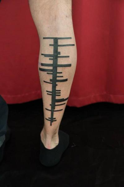 Best Straight Line Tattoo Artist : Leg lines blackwork tattoo by skin deep art best