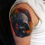 Light Saber Darth Vader tattoo by Andres Acosta