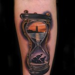 Lighthouse and Sinking Ship Hourglass tattoo by Andres Acosta
