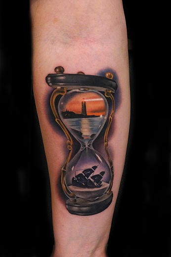 Lighthouse and sinking ship hourglass tattoo by andres for Sinking ship tattoo