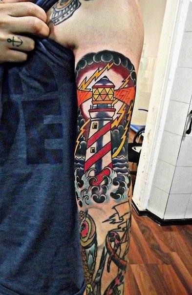 Lightnings Lighthouse Nautical tattoo