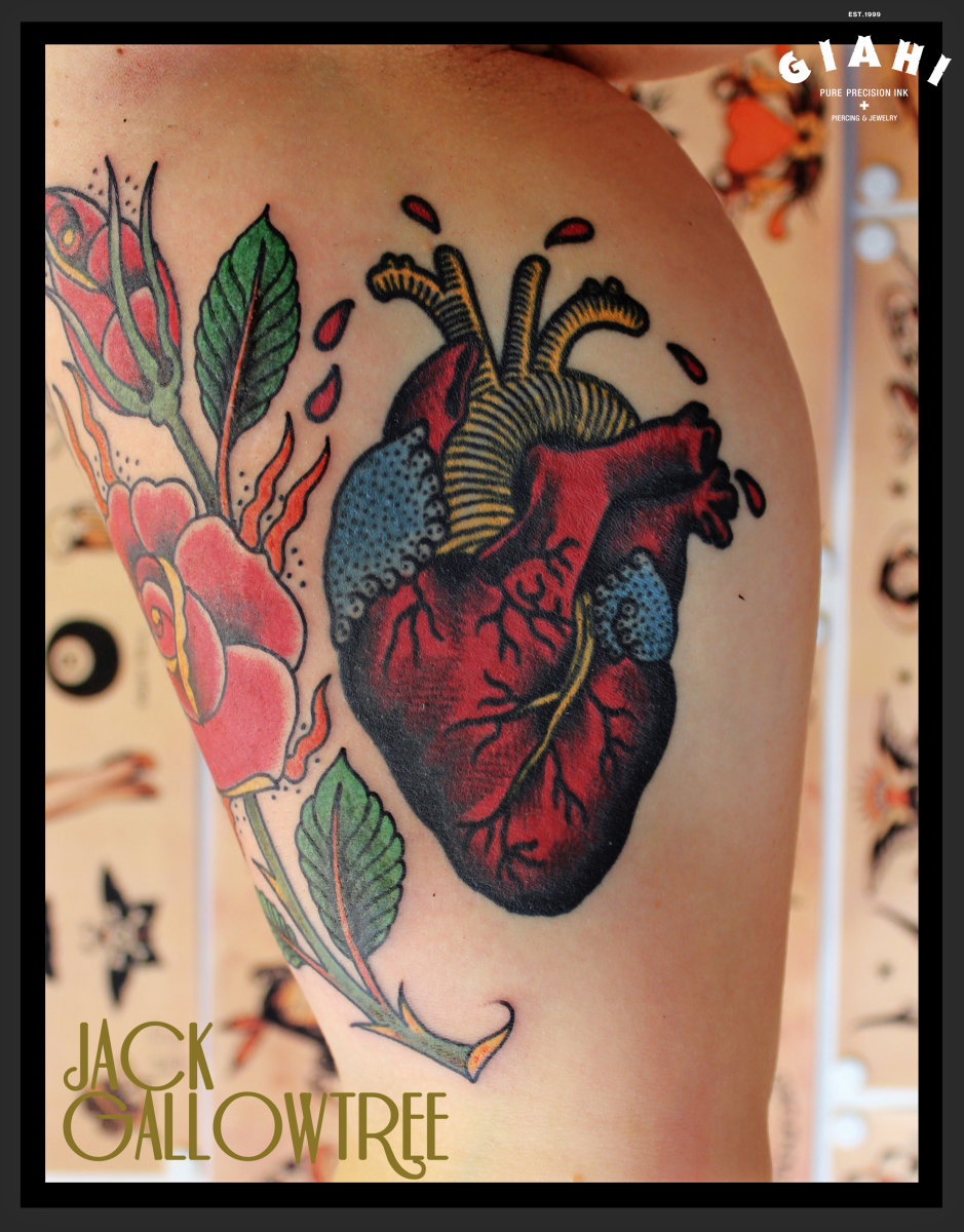 like real heart old school tattoo by jack gallowtree best tattoo ideas gallery. Black Bedroom Furniture Sets. Home Design Ideas