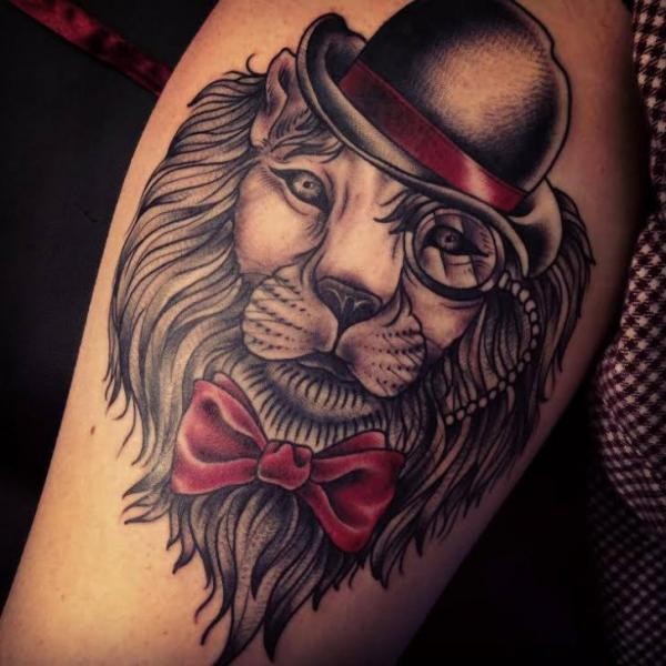 Lion in Bowler Hat tattoo by Sarah B Bolen