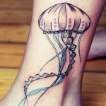 Little Jellyfish Nautical tattoo on Leg