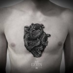 Lizard Jaws Heart Dotwork tattoo by Ien Levin