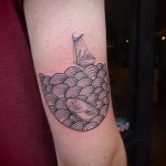 Lola Sails in Sea Dotwork tattoo by Papanatos Tattoos