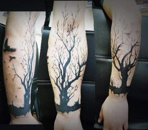 Lonely Tree and Ravens Blackwork tattoo